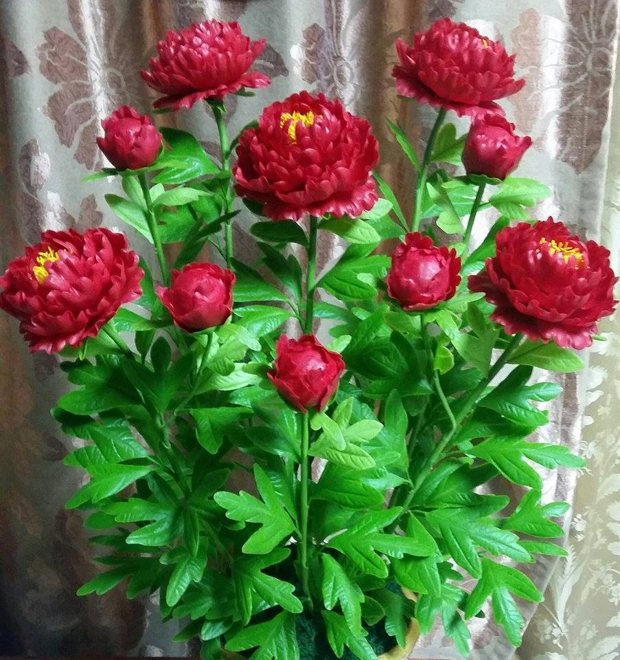Peony clay flower - Red